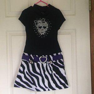 Piper Black & Purple Skull Dress / Girls Size 6/6X